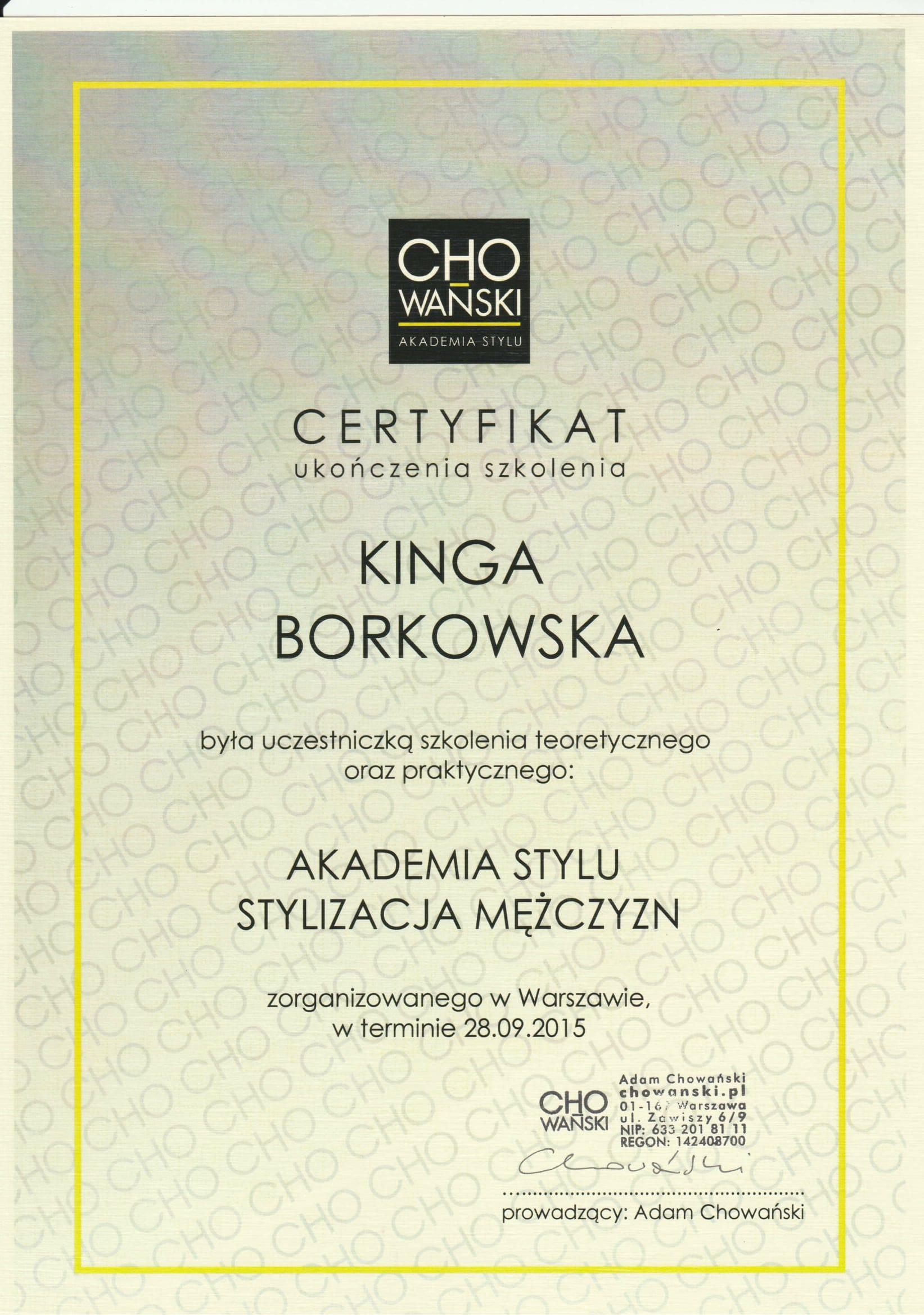 Certyfikat Styl. Męska