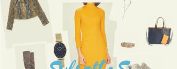 Jesienna stylizacja z musztardową sukienką dla sylwetki S