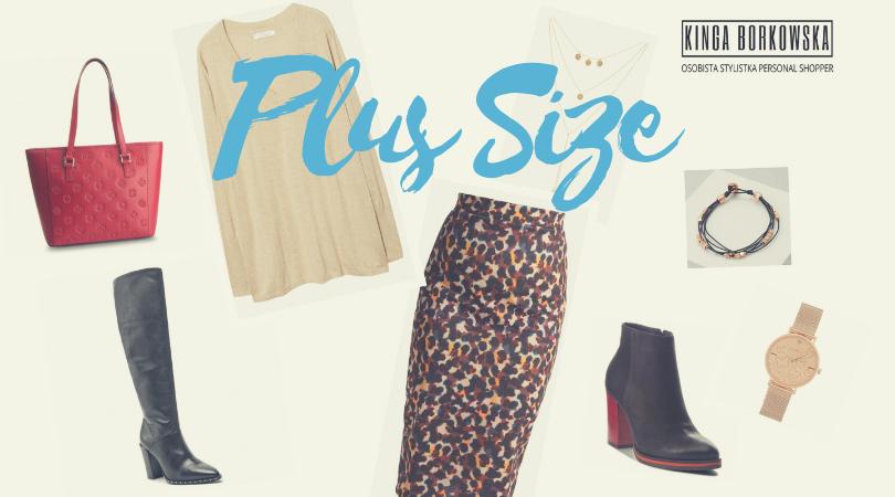 Zakupy ze stylistką, personal shopper, sylwetka plus size, spódnica ołówkowa, sweterek z dekoltem w szpic