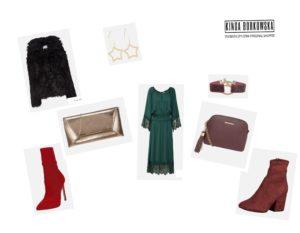 Zestaw świąteczny, zwiewna sukienka i futro, stylistka radzi, zakupy ze stylistką