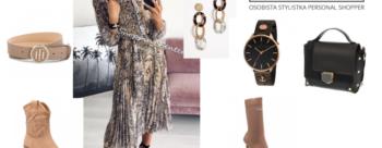Wiosenna stylizacja z sukienką midi dla sylwetki L
