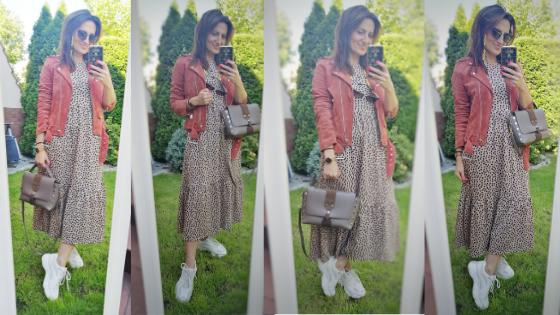 Zwiewna sukienka, ramoneska i sneakersy przy niskiej sylwetce